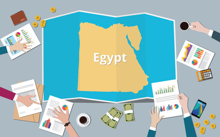 egypt mesir country growth nation team discuss with fold maps view from top vector illustration
