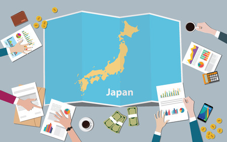 japan country growth nation team discuss with fold maps view from top vector illustration