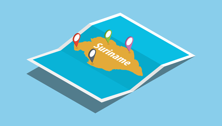 explore republic of suriname maps with isometric style and pin location tag on top vector illustration