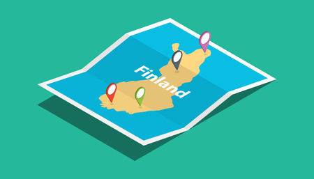 finland explore maps with isometric style and pin location tag on top vector illustration