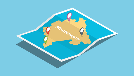 montenegro explore nation country maps with isometric style and pin location tag on top vector illustration
