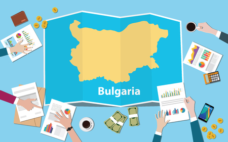 bulgaria economy country growth nation team discuss with fold maps view from top vector illustration