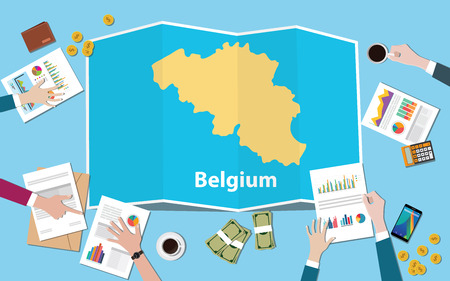 belgium economy country growth nation team discuss with fold maps view from top vector illustration