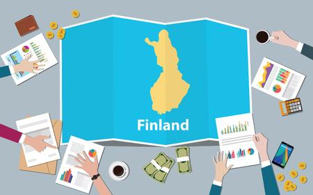 El equipo de la nación de crecimiento del país de la economía de Finlandia discute con mapas plegados vista desde la ilustración vectorial superior Ilustración de vector