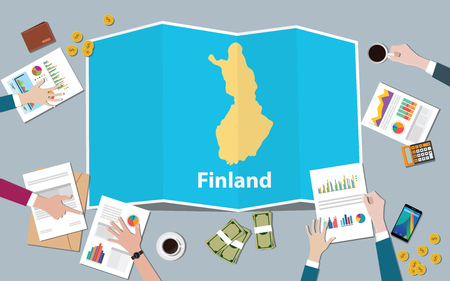 finland economy country growth nation team discuss with fold maps view from top vector illustration