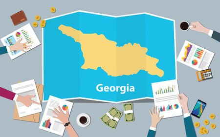 georgia economy country growth nation team discuss with fold maps view from top vector illustration