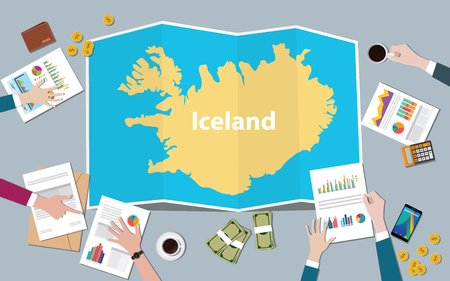 iceland economy country growth nation team discuss with fold maps view from top vector illustration