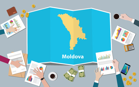 moldova economy country growth nation team discuss with fold maps view from top vector illustration
