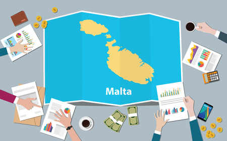 malta economy country growth nation team discuss with fold maps view from top vector illustration