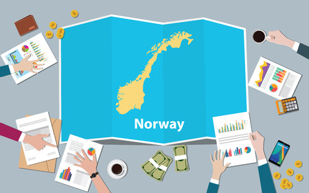 norway economy country growth nation team discuss with fold maps view from top vector illustration
