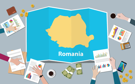 romania economy country growth nation team discuss with fold maps view from top vector illustration
