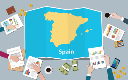 spain economy country growth nation team discuss with fold maps view from top vector illustration