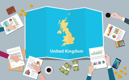 uk united kingdom economy country growth nation team discuss with fold maps view from top vector illustration Illustration