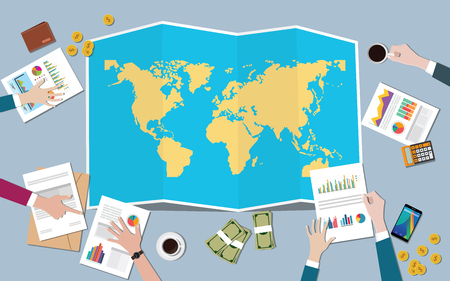 the worlds economy country growth nation team discuss with fold maps view from top vector illustration Ilustração