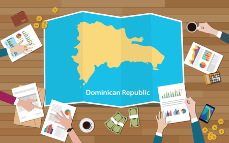 dominican republic economy country growth nation team discuss with fold maps view from top vector illustration