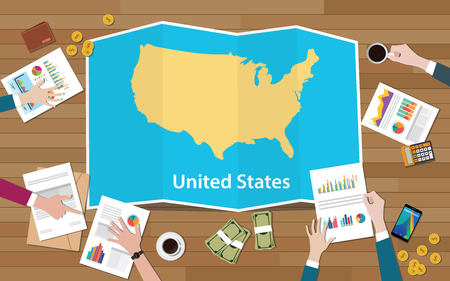 usa united states of america economy country growth nation team discuss with fold maps view from top vector illustration