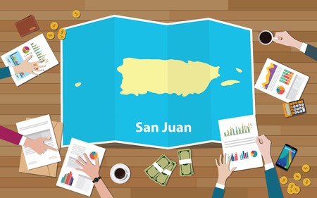 san juan economy country growth nation team discuss with fold maps view from top vector illustration Vectores