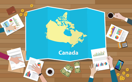 canada economy country growth nation team discuss with fold maps view from top vector illustration Stockfoto - 103867549