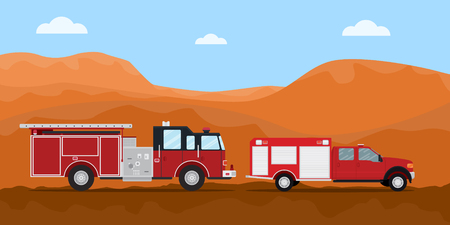 firefighter truck fire extinguisher on the road convoy with mountain desert dry as background vector graphic illustration