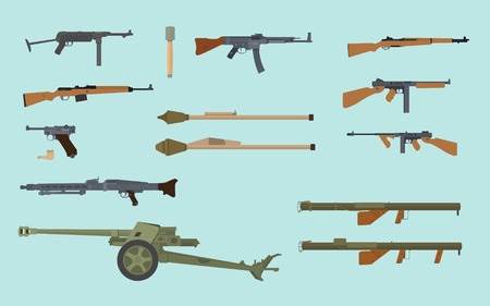 world war 2 gun collection german and usa america vector graphic collections Illustration