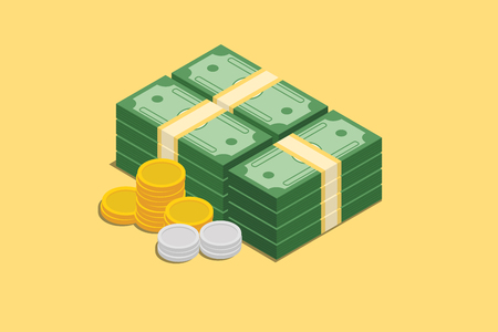 a stack of cash money with gold coins and silver coin vector graphic illustration