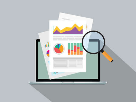 raport biznesowy z wykresem online na górze grafiki wektorowej notebooka Ilustracje wektorowe