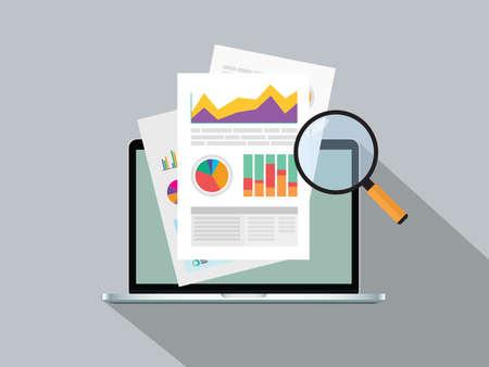rapport d'activité papier avec graphique en ligne au-dessus de l'illustration graphique vectorielle de l'ordinateur portable Vecteurs