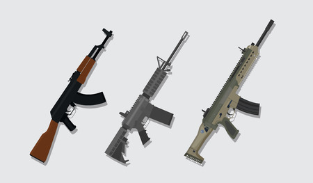 a comparison betweekn main riffle from russia, german, and america vector illustration