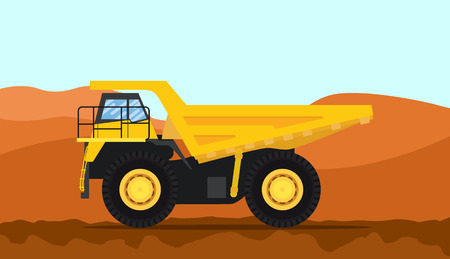 a big dump heavy truck with yellow color and mountain background vector illustration