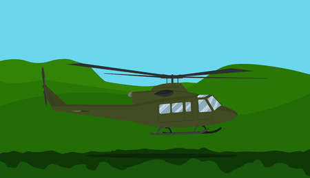 a war helicopter on the forest with mountain background vector illustration