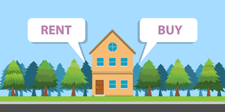 compare between buy or rent a house property vector illustration Stock Vector - 114992967