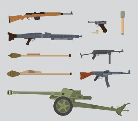 deutsche ww2 Waffensammlung Vektorillustration