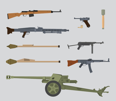 german ww2 gun collection vector illustration