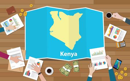 kenia afrika kenia economie land groei natie team bespreken met vouwen kaarten uitzicht vanaf top vectorillustratie Vector Illustratie