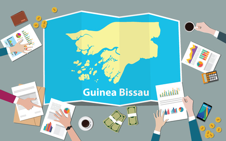 guinea bissau africa economy country growth nation team discuss with fold maps view from top vector illustration Vector Illustratie