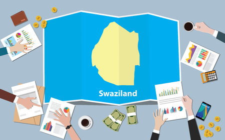 swaziland africa economy country growth nation team discuss with fold maps view from top vector illustration Векторная Иллюстрация