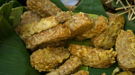 tempe goreng or fried tempeh traditional food indonesia central java
