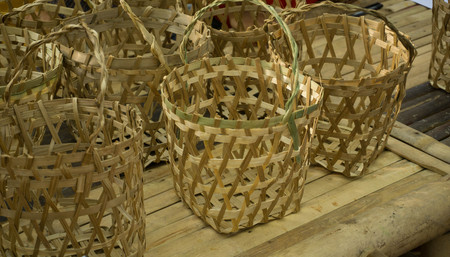 bambo basket collection on top of bamboo table in indonesia central java