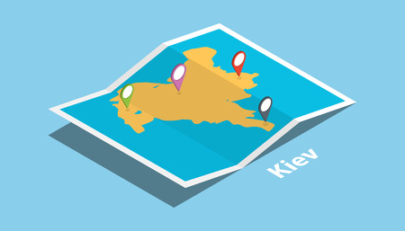 explore kiev or kyiv maps with isometric style and pin location tag on top vector illustration