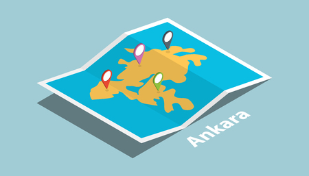 ankara explore maps with isometric style and pin location tag on top vector illustration Illustration