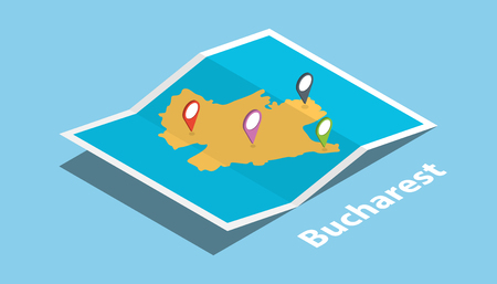 bucharest explore maps with isometric style and pin location tag on top vector illustration