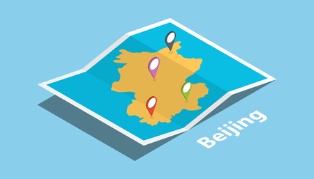 beijing china explore maps with isometric style and pin location tag on top vector illustration Ilustrace