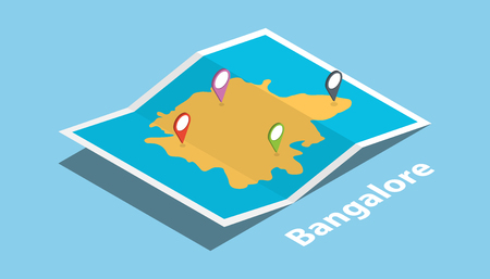bangalore explore maps with isometric style and pin location tag on top vector illustration