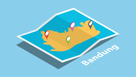 bandung explore maps with isometric style and pin location tag on top vector illustration