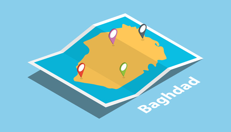 baghdad iraq capital explore maps with isometric style and pin location tag on top vector illustration