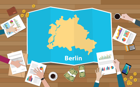 berlin german capital city region economy growth with team discuss on fold maps view from top vector illustration