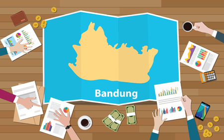 bandung indonesia java city region economy growth with team discuss on fold maps view from top vector illustration Illustration