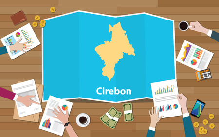 cirebon indonesia java chongqing china chungking city region economy growth with team discuss on fold maps view from top vector illustration