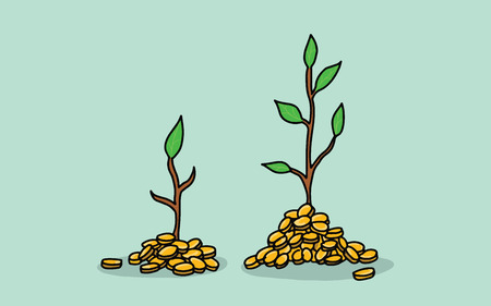 tree invest investment with gold coin money and growing growth illustration with green leaf vector illustration