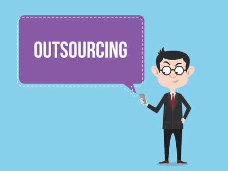 outsourcing concept with business man standing and choose to outsource his work vector illustration
